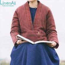 LinenAl women's linen+cotton+wool parkas clothing original design V-neck Striped winter jacket parkas coat outerwear WUYOU