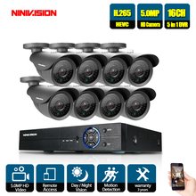 NINIVISION 5MP Ultra HD Surveillance System 16 Channel H.265+ Video DVR with 8 x Ip66 Bullet Weatherproof Cameras