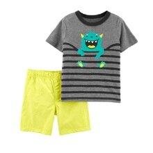 Комплект одежды для маленьких мальчиков с монстрами милые летние топы для малышей, трусики, комплект одежды хлопковая одежда для малышей с 3D рисунком Комбинезоны для детей 6, 9, 12, 18, 24 месяцев