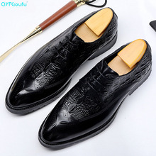 QYFCIOUFU 2019 Crocodile Pattern Genuine Leather Formal Shoes Men Pointed Toe Lace-up Dress Brand Oxford For
