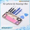 1 шт. бесплатная доставка металла крышка батарейного отсека для iphone 6 с жилищно обложка чехол с шлейфы + боковые клавиши