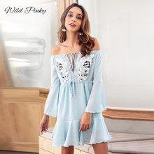 WildPinky 2019 Women Dress Summer Off Shoulder Loose Ruffle Long Sleeve Ladies Evening Chiffon Party Mini Vestidos