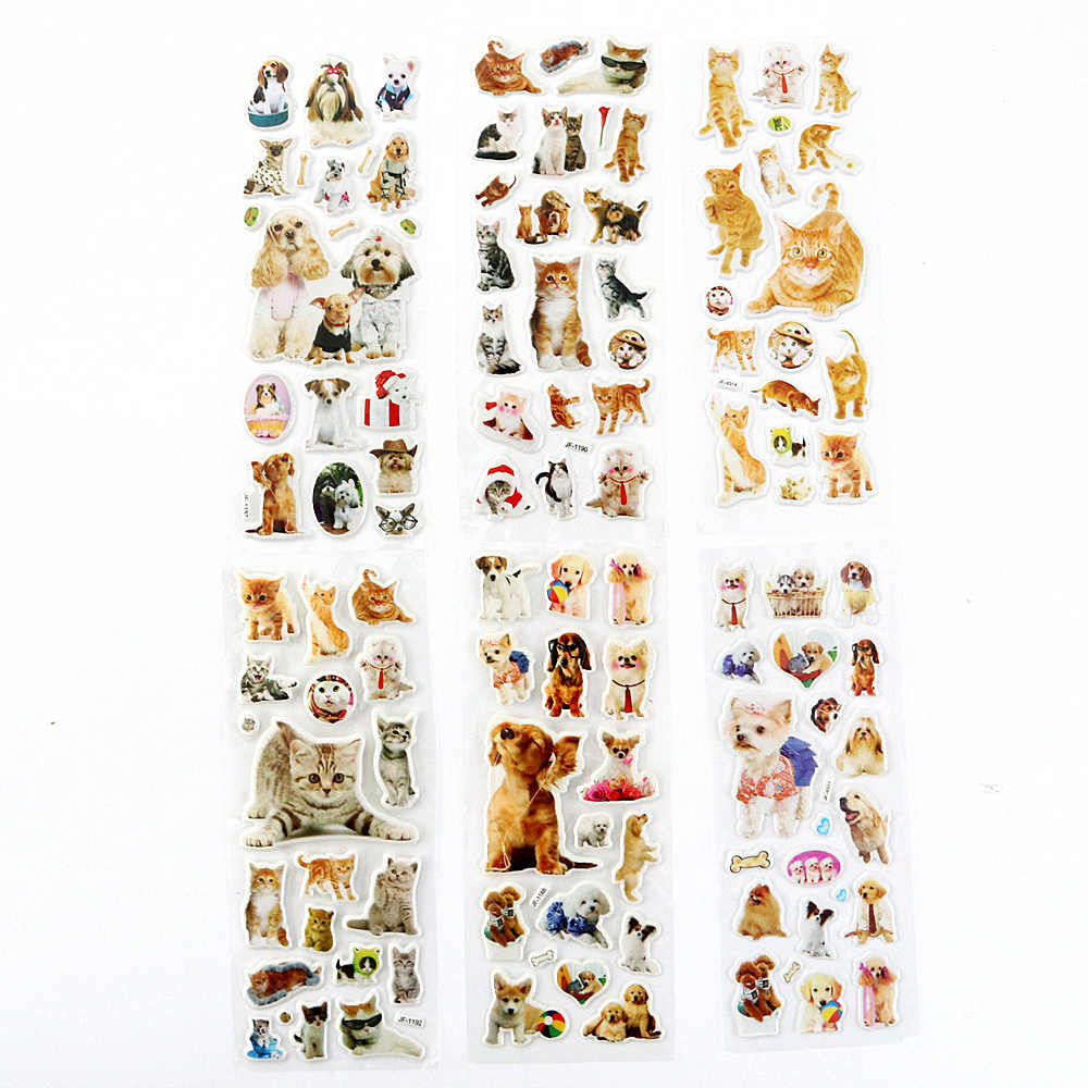 6 Sheets/set Pets Animals cat / dog Bubble Puffy Stickers Kawaii Emoji Reward Kids Children Toys Factory Direct Sales  ST02