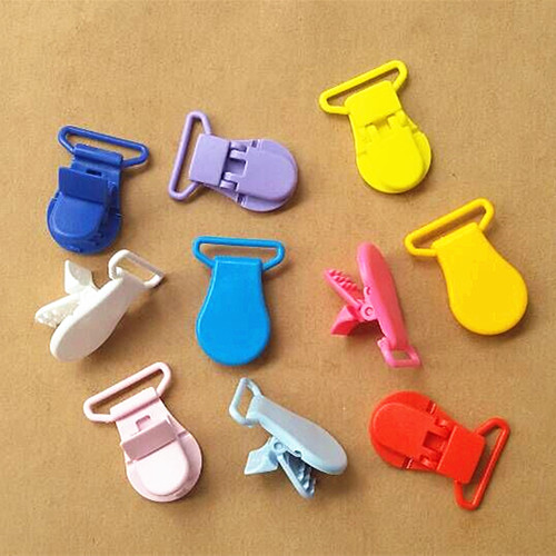 Mix Colors 10Pcs KAM 25MM Plastic Pacifier Clips Holder Soother Mam DIY Baby Dummy Clips Chain For Ribbon Strap