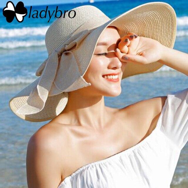 Ladybro Women Hat Summer Large Brim Straw Hat Female Lady Fashion Sun Hat UV Protect Big Bow Beach Hat Travel Chapeau Feminino