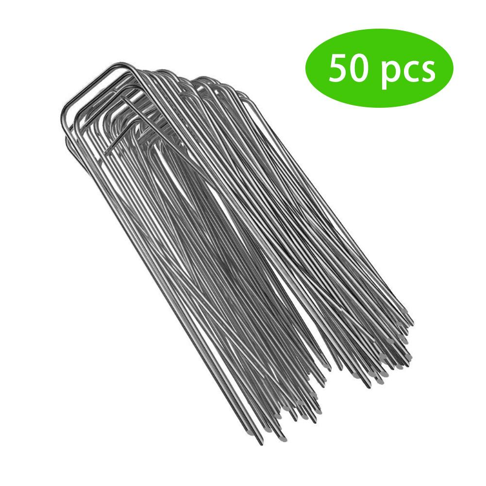 50pcs/pack Galvanized Steel Garden Pile U-Shaped Nails Fixing Turf Tool For Fixing Weed Fabric Landscape Anti-bird Mesh Net
