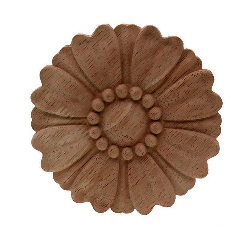 VZLX HOT Rubbe Round Wood Carved Applique Retro Furniture Crafts Decor Wooden DIY Letters Vintage Home Decoration
