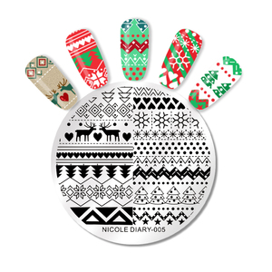 Image 2 - NICOLE DIARY Christmas Halloween Nail Art Stamping Plate Snow Ghost Image Printing Template Festival New Year Nail Stamp Stencil