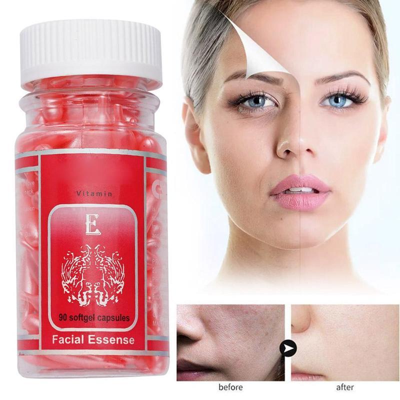 90pcs Vitamin E Capsules Spot Acne Removing Whitening Face Cream Facial Freckle Capsule Moisturizing Serum