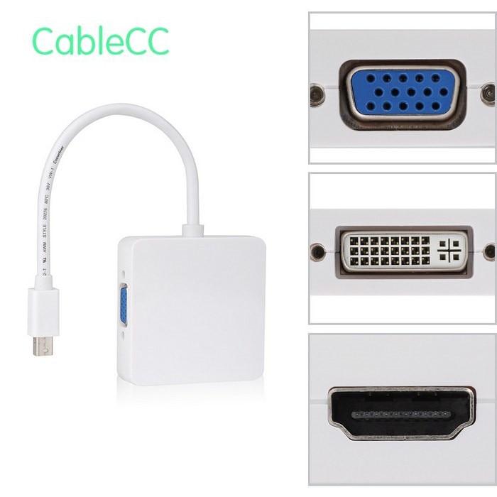 Square Mini DP Displayport to DVI VGA HDMI HDTV Adapter 3 in1 for font b Apple