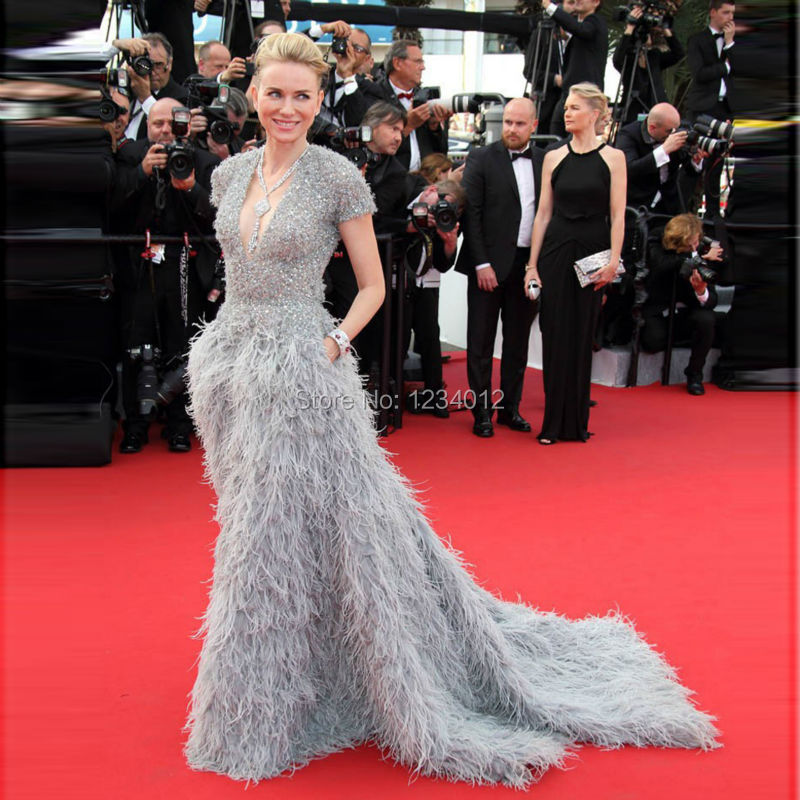 168th-cannes-Film-Festival-Luxury-Full-Feathers-Celebrity-dresses-naomi-watts-Formal-Gowns-V-Neck (5)
