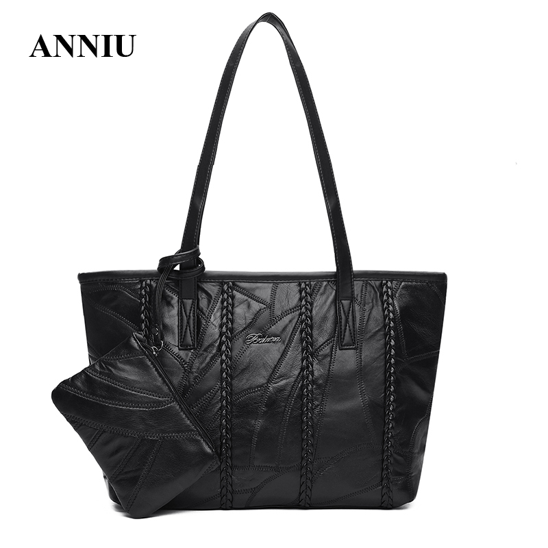 ANNIU 2017 New Women Sheepskin Leather Large capacity handbags female designer famous brand Casual Tote designer Shoulder Bags famous designer brand bags handbags women bags leather genuine large capacity sheepskin rivet hand bag shoulder tote female 2017