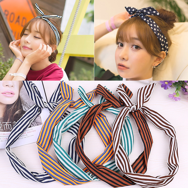 LNRRABC 1PC Dots Rabbit Ear Sweet Striped Bowknots Cute Hair Band Women Turban Headbands Girl   Headwear   Hair Accessories