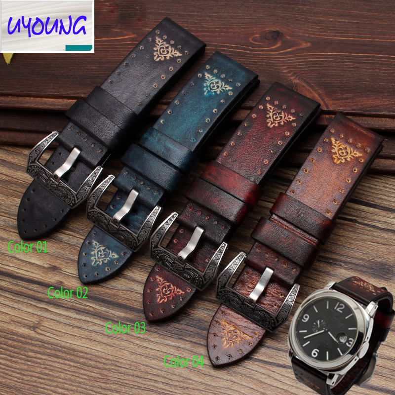 UYOUNG Hand made custom retro made old strap Italian soft leather for PAM111 332 strap 24mm hand made oil wax leather watchbands 24mm retro leather strap classic male models for pam italian calfskin strap