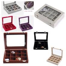 12 Grid Velvet Gl Jewelry Ring Display Organiser Box Tray Holder Earrings Storage Case Multi Colors