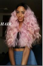 Fashional Long Wave Pastel Pink 1B Black to Pink Ombre Synthetic Lace Front Wig Heat Resistant fiber Wavy Wig free shipping