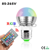 LED Bulb Lamp E27 3W RGB LED Bulbs 25W Incandescent Bulb Equivalent With IR Remote Spotlight