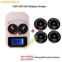 1 ADET şarj cihazı + 2PCSLIR2025 + 2PCSLIR2032  şarj edilebilir LIR2025 LIR2032 LIR2016 3.6 V düğme pil  LED şarj edilebilir ekran|charger charger|lir2032 battery chargerbatteries battery charger -
