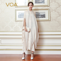 VOA 2017 Summer Batwing Sleeve Fashion Leisure Silk Jacquard Long Robe Beige Plus Size Loose Solid