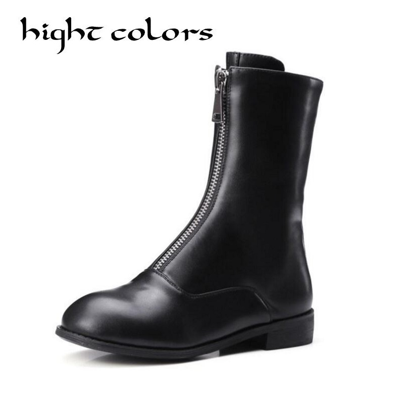 Noir Blanc Mi-mollet Rond Chaussures Bas Talon Combat Punk plat Bottes Pour  Femmes Style Européen En Métal Zipper Décoration Martin bottes c9e241a67aef