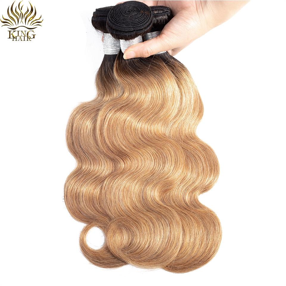 King Hair Brazilian Body Wave Hair Two Tone 1B/27 Ombre Hair Weave Bundles 3pcs/lot Remy Human Hair Weaving Free Shipping