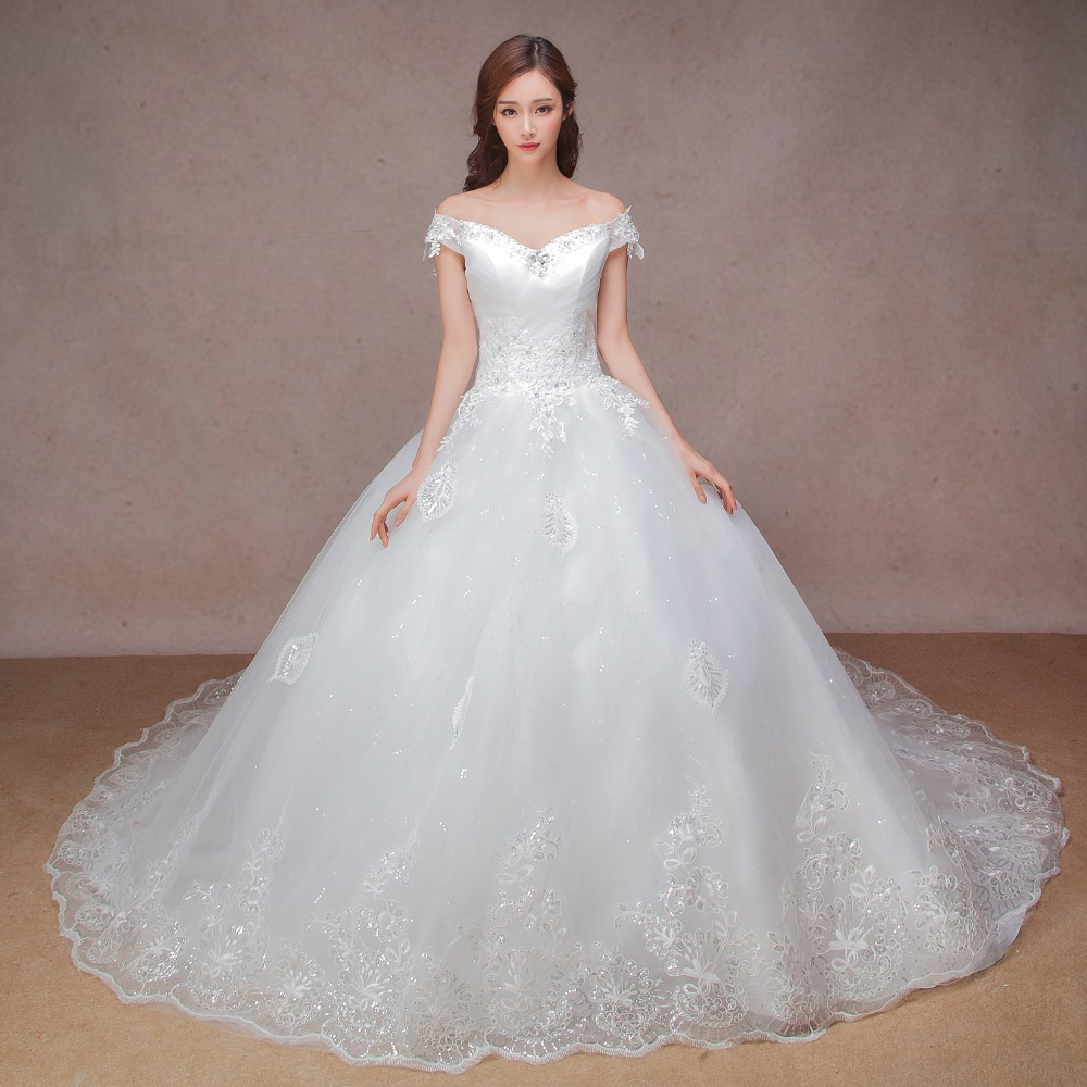 luxury ball font b gown b font font b wedding b font dress with cathedral train