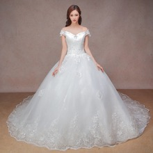 luxury ball gown wedding dress with cathedral train  long tail with bling 2016 new arrival strapless princess style bridal gown