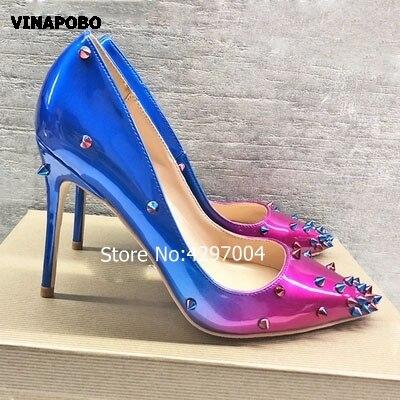 Escarpins femme luxe dégradé violet bleu Rivets bout pointu talons aiguilles pointes talons hauts Sexy chaussures de soirée formelles femmes 43