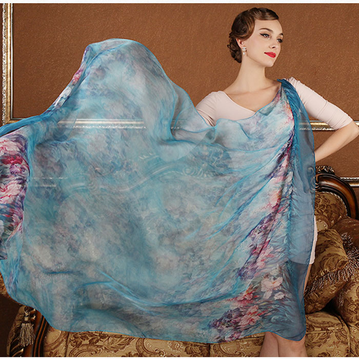 100% real silk scarf  wrap shawl hijab for women long style digital print classic floral design large size 175x108CM
