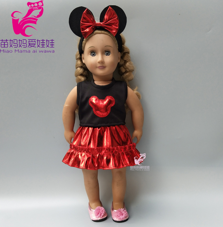 Doll Dress For 43cm Born Baby Doll Mickey Dress Headband Suit For 18