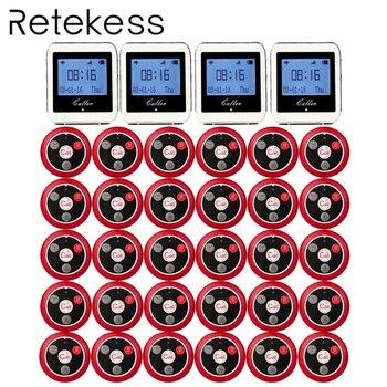 RETICÊNCIA Serviço Do Sistema Pager Sistema de Chamada Sem Fio Garçom Para Restaurante Botão de Chamada de Pager Convidado 4 Receptor Relógio + 30 F3288B