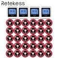 Sistema de llamadas de camarero inalámbrico RETEKESS para el sistema de buscapersonas de servicio de restaurante 4 receptor de reloj + 30 botón de llamada F3288B