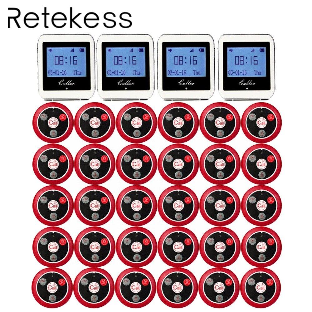 Système d'appel de serveur sans fil RETEKESS pour système de téléavertisseur de Service de Restaurant récepteur de montre 4 + 30 bouton d'appel F3288B