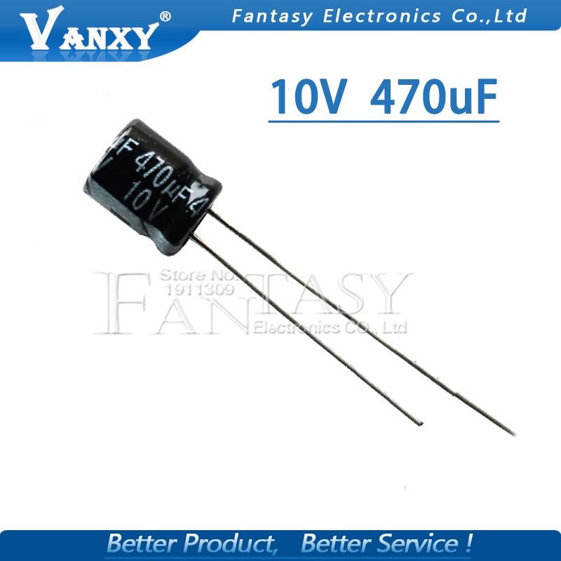 50PCS Higt Quality 10V 470UF  6X7mm 470UF 10V Electrolytic Capacitor