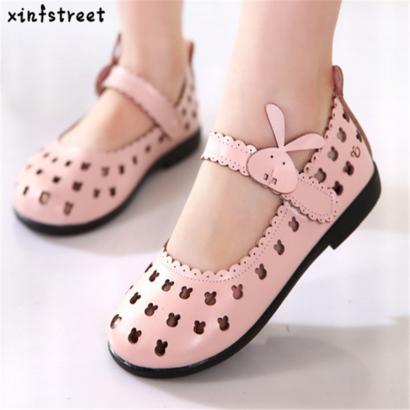 소녀를위한 Hotsale 어린이 신발 2018 브랜드 Cut-outs 어린이 신발 공주 귀여운 Rubbit 통풍 소녀 신발 크기 21-36