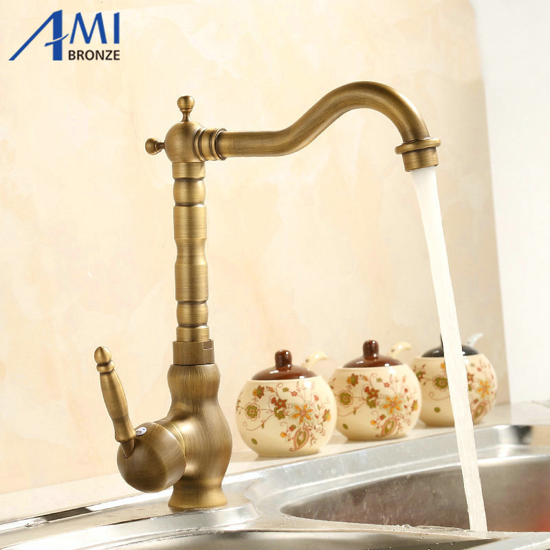 7 Faucet Finishes For Fabulous Bathrooms: 360 Rotate Antique Brass Finish Kitchen Faucets Bathroom