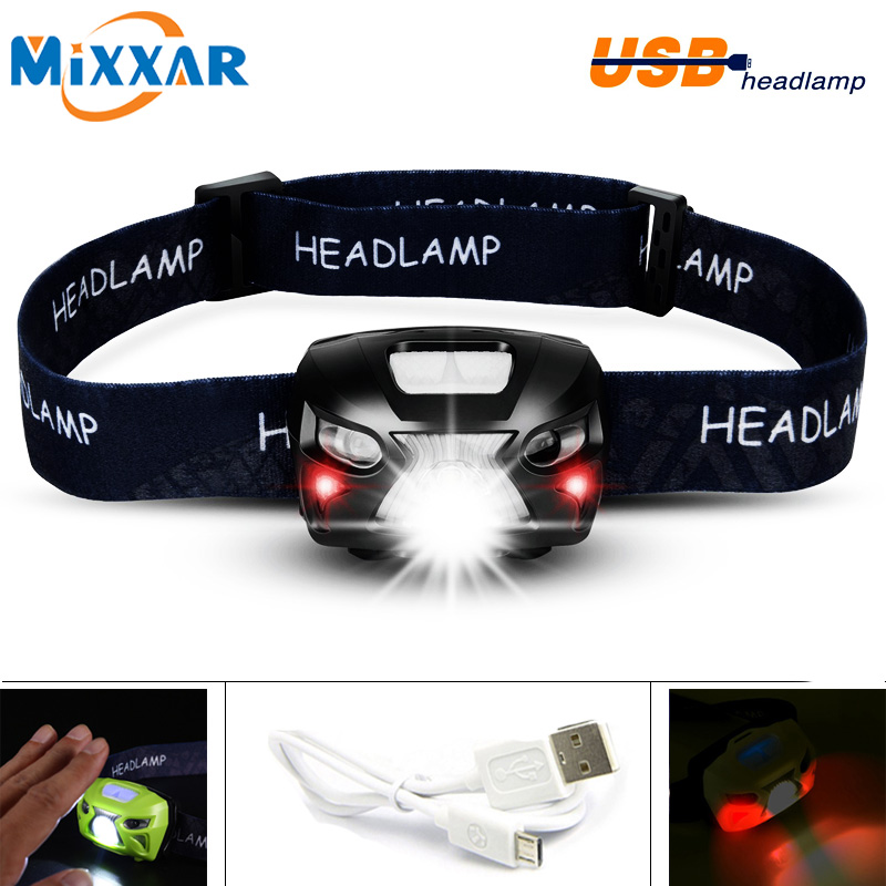 EZK20 USB 8 Modes Waterproof Rechargeable LED Headlamp Headlight for Running Camping with Red Lights Motion Sensor Switch