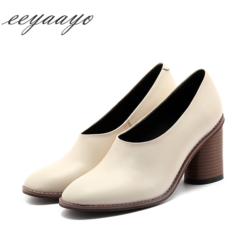 2018 spring summer Genuine leather women pumps high chunky heel square toe cow leather slip-on classic Beige black shoes women 247 classic leather