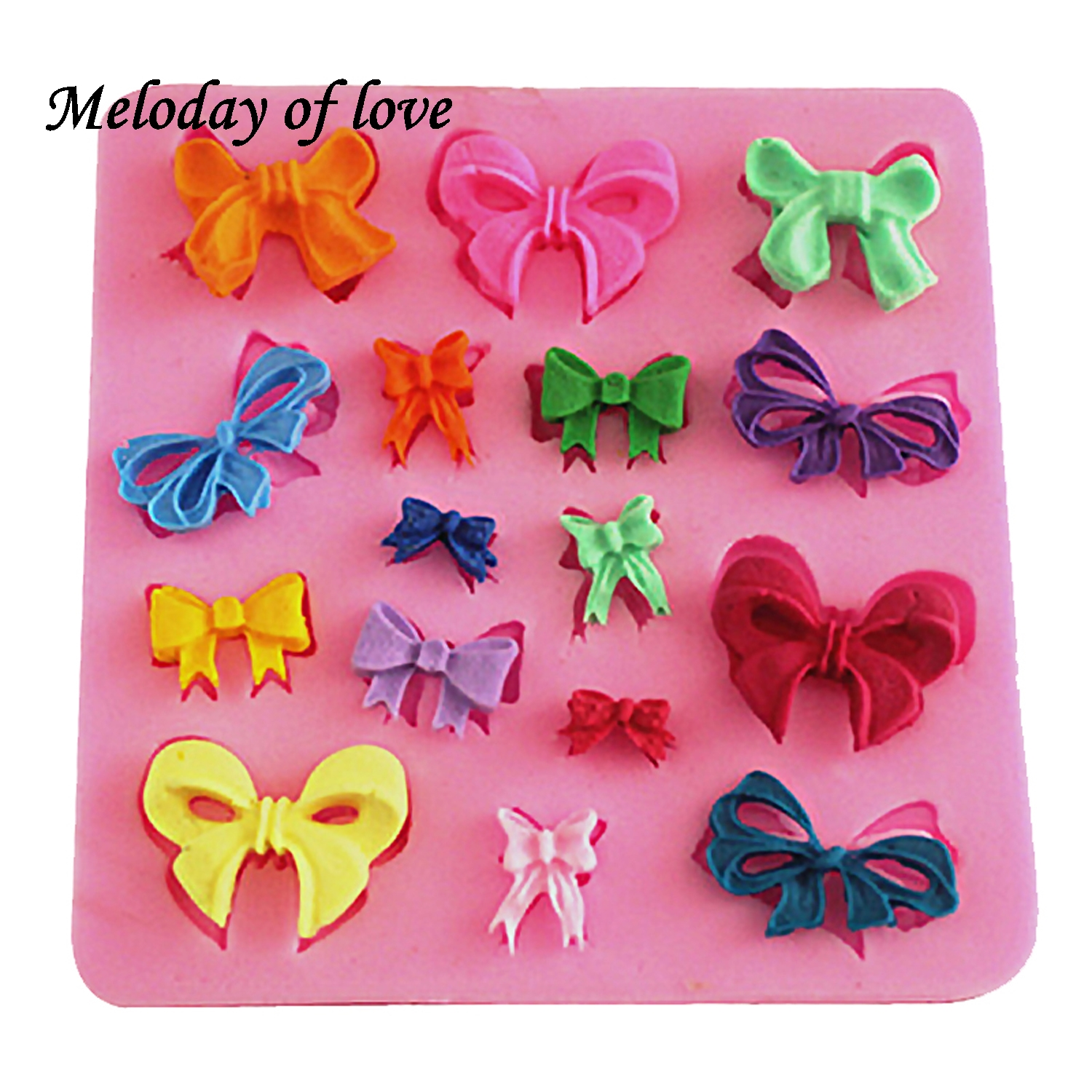 Many Mini Bows bow-knot Shape Silicone Mold 3D rosette Fondant Moulds Sugar Lace Mold Cake Brim  decorating tools T0095