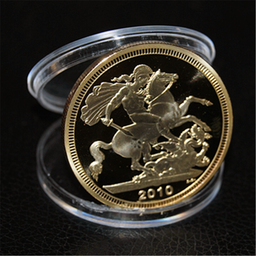 2010 British Sovereign Coin, 1 troy oz .999 Bullion Gold Round coin, gold plated coins 1OZ Dia 40mm, free shipping