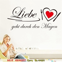 HOt Love Heart Quotes Wall Stickers Kitchen Bedroom Decoration Liebe Zitate Wandaufkleber Vinyl Home Decals Mural