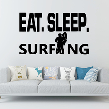 Classic Eat Sleep surfing Wall Stickers Animal Lover Home Decoration Accessories For Kids Rooms Nursery Room Decor Mural Poster