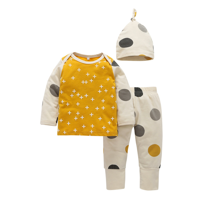 Baby Boy Girl Clothing Cotton Long Sleeve T-shirt +Hat + Dot Trousers 3PCS babys set Newborn baby clothing outfit