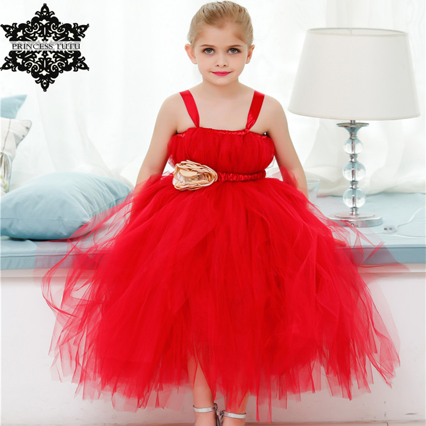 Princess Tutu Red Girls Dress Tulle Wedding Gowns Flower Girl Tutu Dress Kids Party Pageant Formal Dress Children Costume 2017 kids girls wedding flower girl dress princess party pageant formal dress crossed back sleeveless lace tulle dress 2 14y