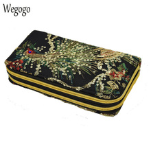 New Women Clutch Bag National Double-sided Peacock Embroidery Purse Canvas Long Wallet Two Zipper Mobile Phone Small Coin Bag vintage embroidery wallet new national ethnic embroidered long purse small clutch bag mobile phone coin bags