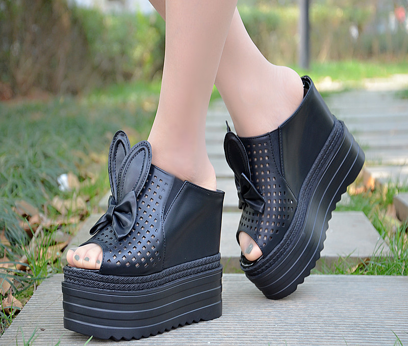 Summer high with the increase in thick bottom muffin slippers female High-heeled color with a sense of light with a light comfor