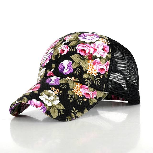 Newest women floral baseball hat spring and summer casual cap girl sun  snapback hats for sport adjustable summer cap leisure hat d6b0e398182