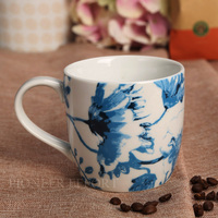 Modern Simple Blue White Ceramic Mug Office Drinking Cup Coffee Mug 300ml