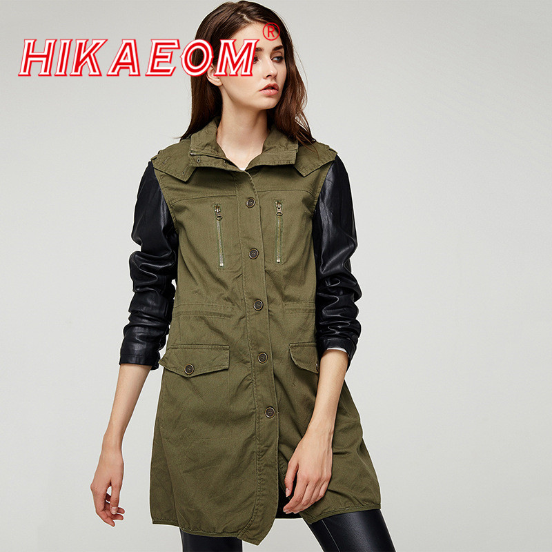 New Pu   Leather   Stitching Sleeve Hooded Jackets Women Long Sleeve Patchwork Turn-down Collar Pockets Long Casual Outwears Female