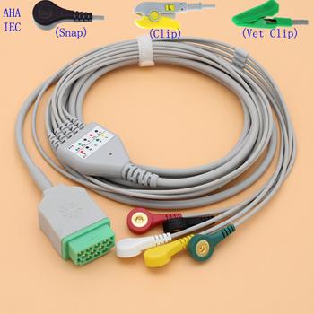 11 pinów EKG EKG 5 odprowadzeń kabel i przewód elektrody do ge-marquette Dash pro 4000 3000 2000 i Solar tramwaj z EKG zwierząt tanie i dobre opinie ECG EKG 5 Leads ECG-GE-5 11p male Snap Clip Vet clip Soft TPU Gray 1pc box